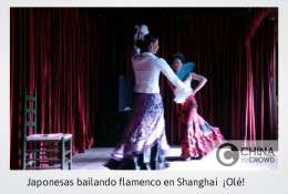 japonesas bailando flamenco en Shanghai. CHINA IN CROWD